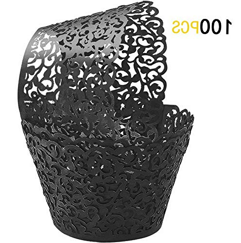 - Mikash 100Pcs Cupcake Wrappers | Artistic Bake Cake Paper Filigree Little Vine Lace Laser Cut Liner Baking Cup Wraps Muffin CaseTrays for Wedding Party Birthday Tion (Black) | | Model WDDNG - 141