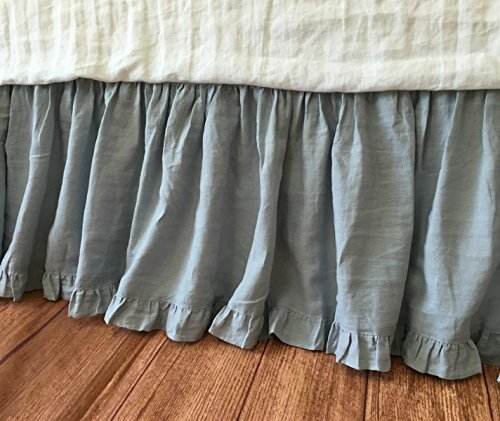 DUCK EGG BLUE Bedskirt with ruffle hem, Linen Bed Skirt, Linen Dust Ruffle, Shabby Chic Bed Skirt, Twin Bed Skirt, Queen Bed Skirt, King Bed Skirt, HANDMADE, FREE SHIPPING