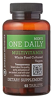 Amazon Elements Men's One Daily Multivitamin, 62% Whole Food Cultured, Vegan, 65 Tablets