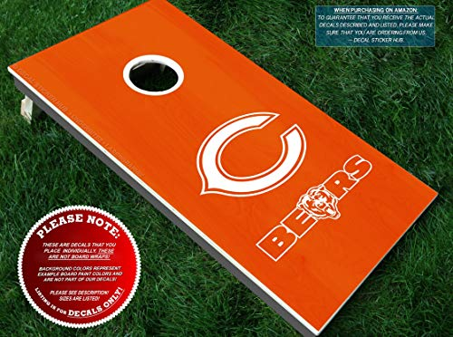 Bears Cornhole Decals | HALF SET | Color Choice | Large Decals + Ring Sticker | DIY Cornhole Board Building & Decorating | Decal Sticker Hub