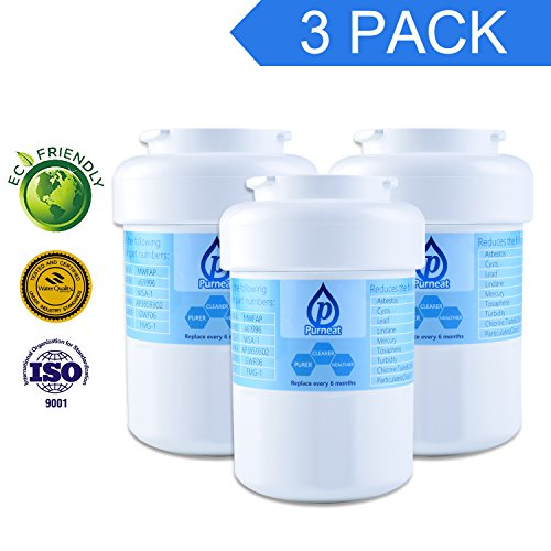 Purneat GE MWF Refrigerator Water Filter, SmartWater Compatible Water Filter Cartridge-3 pack