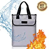 Fireproof Document Bag, Suxin Silicone Coated Fire Water Resistant Bag - Large Storage Zipper Closure Dual Layer Safe for Money, Documents, Jewelry, Passport and Batteries (15'' x 11.4''x 2.3'')