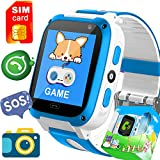 Kids Game Smart Watch Phone with FREE SIM CARD,SOS Tracker School Birthday Gifts Girls Boys Fitness Tracker Wrist Sport Watch 9 Puzzle Game Toys Camera 1.54'' Alarm Timer for Outdoor Run Camp