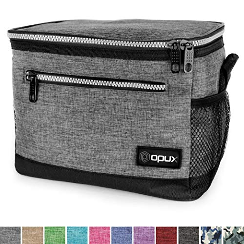 OPUX Premium Lunch Box, Insulated Lunch Bag for Men Women Adult | Durable School Lunch Pail for Boys, Girls, Kids | Soft Leakproof Medium Lunch Cooler Tote for Work Office | Fit 14 Cans (Heather Grey)