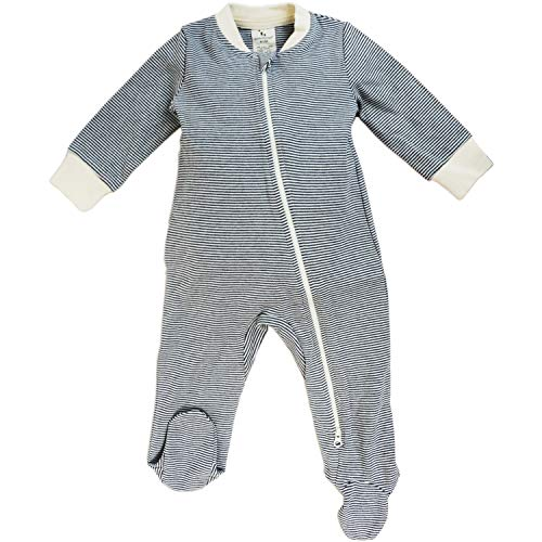 - Dordor & Gorgor Organic Zip Front Sleep 'N Play, Unisex Baby Footed Pajamas, Cotton (18-24 Month, Gray Striped 3)