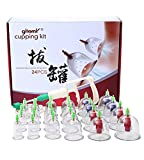 Chinese Cupping Therapy Set,24-Cup Plastic Vacuum Cupping Massage Kit,Magnetic Treatments with Pumping Handle, English Manual for Medical Cupping Massage