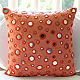The HomeCentric Luxury Peach Orange Pillows Cover, Mirror Pillow Cases, Throw Pillow Covers 18''x18'', Square Silk Pillows Covers for Couch, Polka Dot Contemporary Decorative Pillows Cover - Mirror Fun