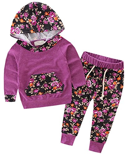 Betusline Kids Baby Girls 2pcs Set Flower Hoodies with Pocket Top+Pants - Shop Lindas Flower