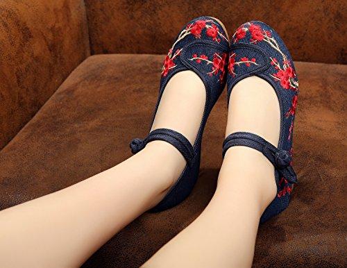 Schuhe blue Gestickte Segeltuchschuhe Sehnensohle DESY Stil ethnischer 5cm denim weibliche Mode Tintenschuhe bequem Leinen FaOxn0