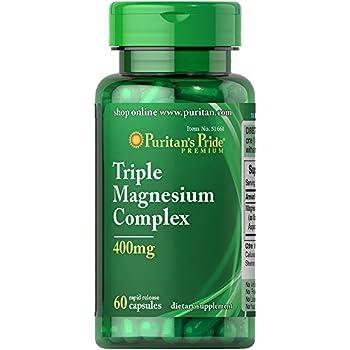 Puritans Pride Triple Magnesium Complex 400 Mg Rapid Release Capsules, 60 Count
