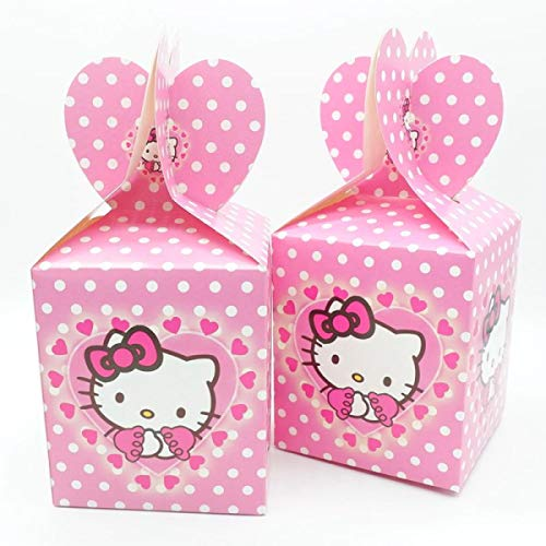 HOMZE Happy Birthday Unicorn Gift Bags Candy Bag for Unicorn Party Baby Shower Girl Paper Candy Box Gift Packaging Party Supplies Hello Kitty