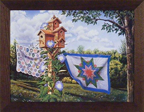 Summer Breeze Framed - Summer Breeze by Doug Knutson 22x28 Afghan Quilt Birdhouse Art Print Wall Décor Framed Picture