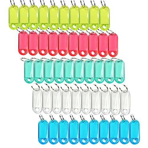 Cosmos ® Pack of 50 Assorted Color Coded Key Tag with Label Window Ring Holder with LCD Cleaner Stylus ()