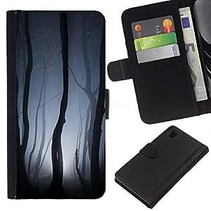 KingStore / Leather Etui en cuir / Sony Xperia Z1 L39 / Luces Bosque Gris noche de miedo;