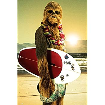 Amazon Com Star Wars Chewbacca With Surfboard 24x36