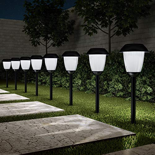 Pure Garden 50-LG1058 Solar Path, Set of 8-16  Tall Stainless Steel Outdoor Stake Lighting for Garden, Landscape, Yard, Driveway, Walkway, Black [並行輸入品] B07R7RD61D