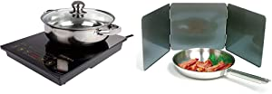 "Rosewill 1800 Watt 5 Pre-Programmed Settings Induction Cooker Cooktop, Included 10"" 3.5 Qt 18-8 Stainless Steel Pot, Gold, RHAI-16002 & Norpro Nonstick 3 Sided Splatter Guard"
