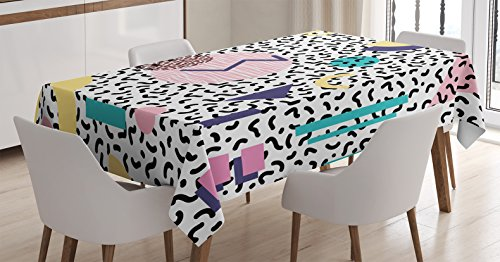 (Ambesonne 90s Tablecloth, Geometric Pattern in Retro Style with Round Half Moon Triangle Shapes Artwork, Dining Room Kitchen Rectangular Table Cover, 60 W X 90 L Inches, Navy Yellow)