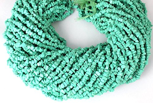 5 Strands Synthetic Freeform Lime Green Turquoise Smooth Uncut Beads 14