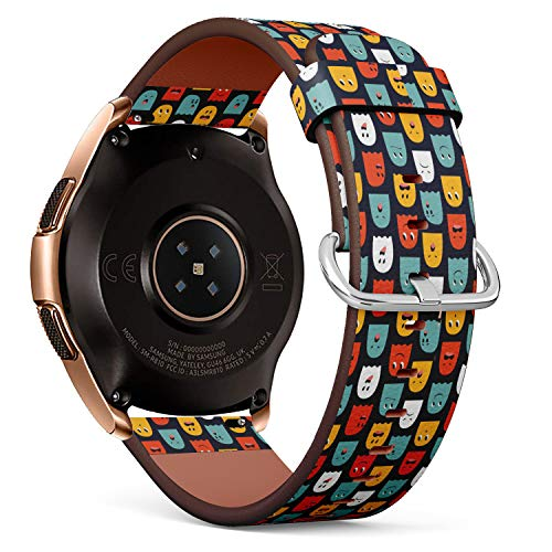 S-Type Replacement Leather Strap Printing Wristbands Compatible with Samsung Galaxy Watch 42mm 46mm Watch Band - Cute Halloween Ghost Pattern