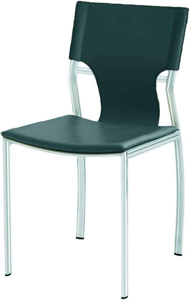 Nuevo Lisbon Leather Dining Side Chair in Black