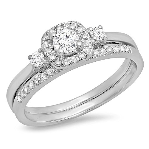 045-Carat-Ctw-14K-Gold-Round-White-Diamond-3-Stone-Halo-Bridal-Engagement-Ring-With-Matching-Band-Set