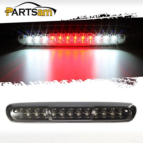 4 Chevy Silverado GMC Sierra 1500 2500 HD 3500 HD Red/White LED Smoke Lens High Mount 3rd Third Brake Light Cargo Tail Lamp (1500 Hd)
