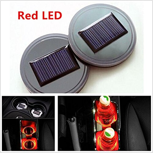 Glumes Car Solar Cup Holder Bottom Pad LED Light, 2PC Wireless Car Interior Lighting Atmosphere Light Accessory Universal ambient lamps for bedroom,car interior decoration, camping, party -