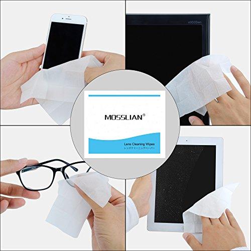 MOSSLIANToallitas de Limpieza para gafas, prehumedecida Lente Toallitas de limpieza Ideales para limpiar Lentes, Pantalla de iPhone 6 6s Plus 5s, Samsung Galaxy S7 S6 Edge Note 5, HTC, LG, BlackBerry