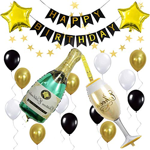 ETLEE Birthday Decorations Set - Happy Birthday Banner & Champagne Balloon Set & Star Foil Balloons for Gold and Black Themed Party Supplies ()
