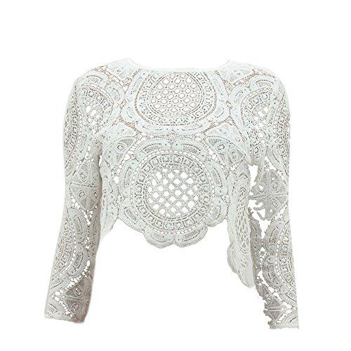 82b985a491a58 50%OFF Froomer Women Sexy Lace Hollow Crop Tops Long Sleeve Zipper Blouse