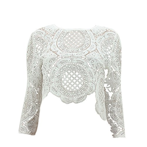 Froomer Women Sexy Lace Hollow Crop Tops Long Sleeve Zipper Blouse White L