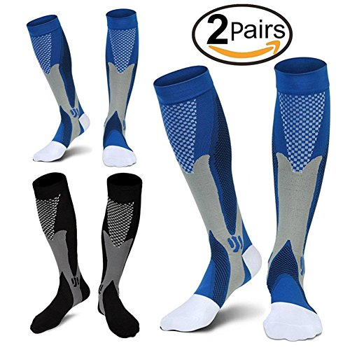2 Pairs Compression Socks, 20-30 mmhg Medical&Althetic Nursing Running Compression Socks for Men Women Marathon, Faster Recovery, Better Blood Circulation(L/XL) (Cross Training Womens Socks)