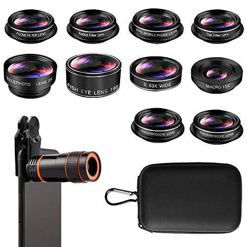 Phone Camera Lens, Cell Phone Lens Kit, 8X Zoom Lens/Fish Eye Lens 198°/Telephoto Lens 2X/15X Macro Lens/CPL Lens/Radial Lens/Kaleidoscope Lens/Filter Lens, for iPhone and Android Smartphones