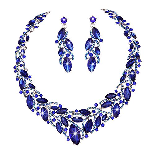 Youfir Women's Elegant Austrian Crystal Necklace and Earrings Jewelry Set for Wedding Dress(Blue)