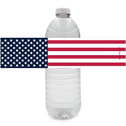 USA Patriotic Party Water Bottle Labels - American Flag Theme (24 Stickers)