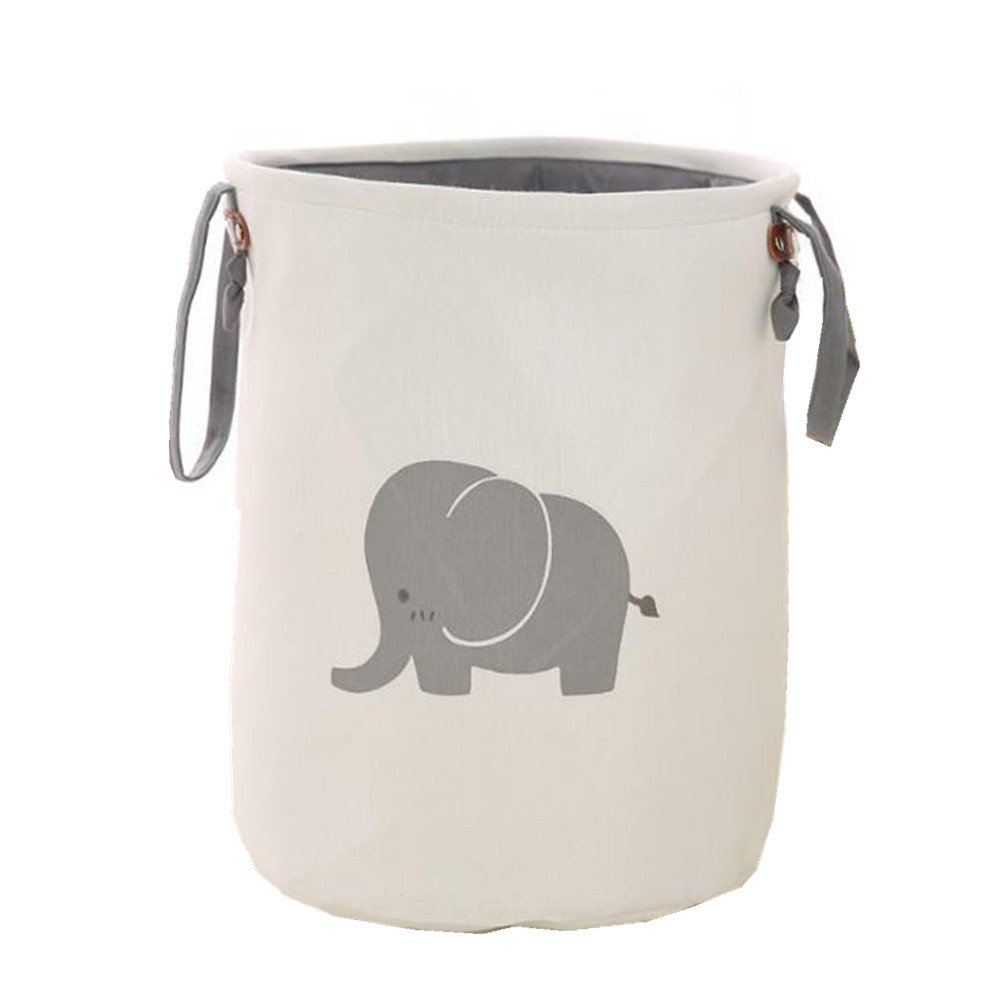 Packitcute Cute Animals Print Double Layer Clothing Laundry Hampers (Elephant)