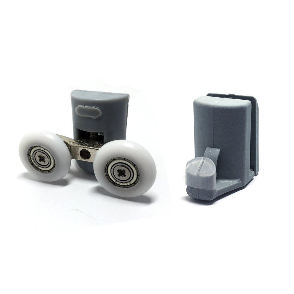 106, Set of 8 Double Shower Door Rollers//Hooks//Wheels TOP /& Bottom 23mm Wheel Diameter 902A Model
