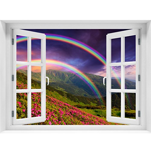 RoyalWallSkins Window Wall Mural Rainbow over the flowers, Peel and Stick Fabric Illusion 3D Wall Decal Photo Sticker