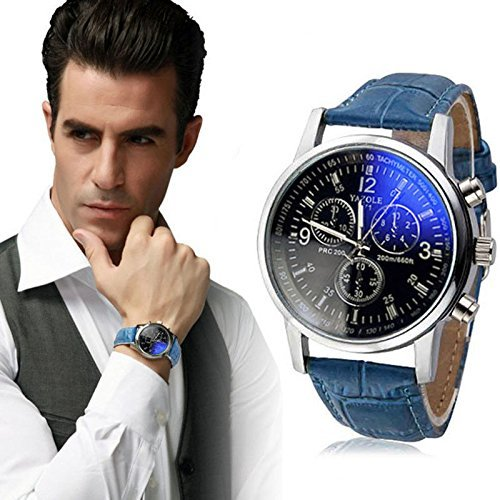 Fashion Men's Date Leather Stainless Steel Military Sport Quartz Wrist Watch new, 100% brand new and high quality, As the Picture Shows(Blue) - Fossil Superman Watch