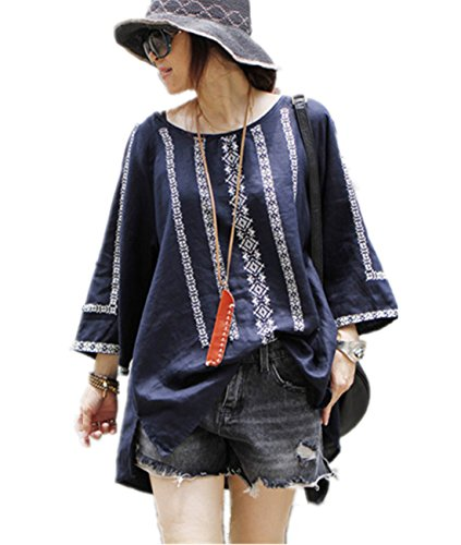 100% Linen Dress (Yesno TK6 Women 'A' Skirt Shirt Tops Blouses Floral Printed 100% Linen Casual Loose Fit Raglan Sleeve Hi-Low Hem)