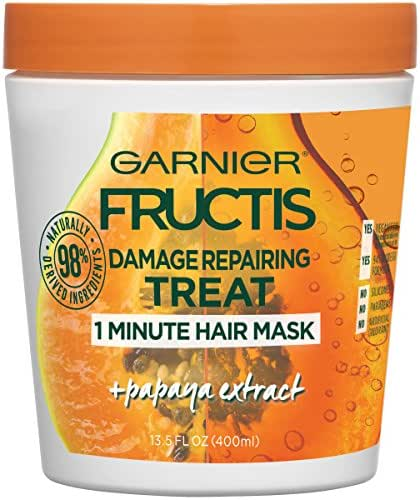 Garnier Fructis Style Damage Repairing Treat 1 Minute Hair Mask with Papaya Extract for Shine and Scalp Health, 13.5 Fl Oz (Pack of 1)