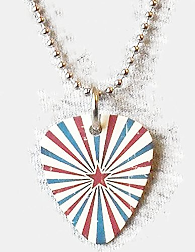 "Unique and Custom (.76 MM Thick) Medium Gauge Aluminum, Traditional Style ""Round Tip"" Guitar Pick Pendent w/ Patriotic Star {Red, White, & Blue - One Pick} w/ Hole for Necklace & 24"
