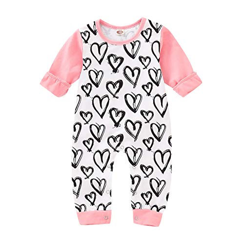 Toddler Baby Girl Clothes Long Sleeve Romper Outfits Heart Printed Onesie Bodysuit Fall Jumpsuit ()