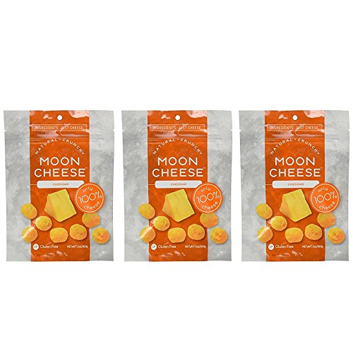 Moon Cheese 2 OZ, Pack of Three, Cheddar, 100% Cheese and Gluten Free by Moon Cheese