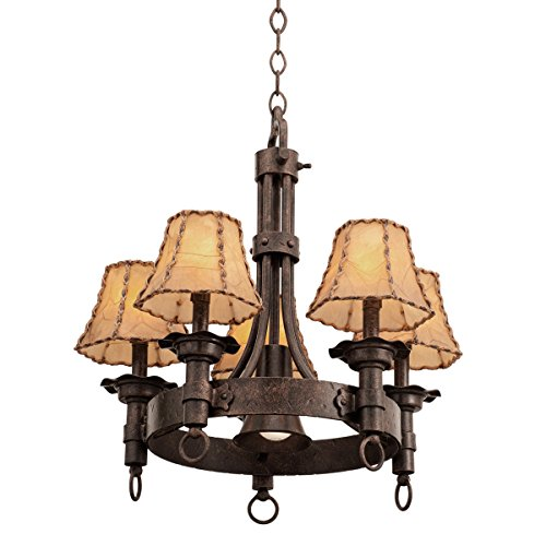 Chandeliers 5 Light with Black Finish Hand Forged Wrought Iron E12 71 inch 200 Watts