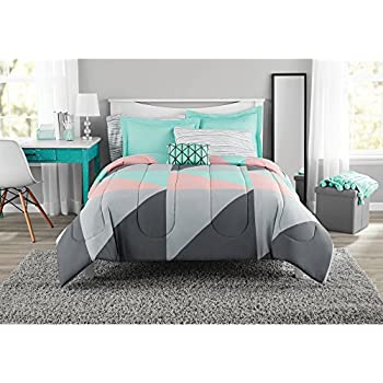 Fun and Bold Mainstays Gray and Teal Bed in a Bag Modern Comforter Set, Geometric Triangle Print with Teal Blue Gray and Pink Coral, Great for Dorms and Kid's Rooms! (Queen)