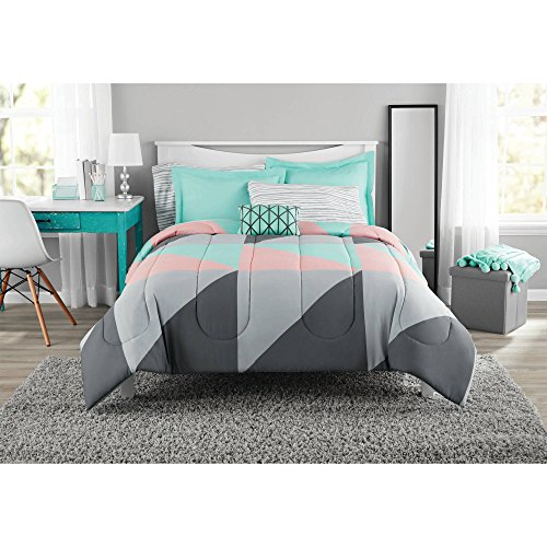 Fun and Bold Mainstays Gray and Teal Bed in a Bag Modern Comforter Set, Geometric Triangle Print with Teal Blue Gray and Pink Coral, Great for Dorms and Kid's Rooms! (Full) (Gray And Teal Bedroom)