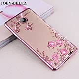 Htc U play ( Rose Pink Color ) Shockproof Silicone Soft Tpu Transparent Shining Flower Stylish Case With Sparkle Crystals Back Cover Case Brand Dustin