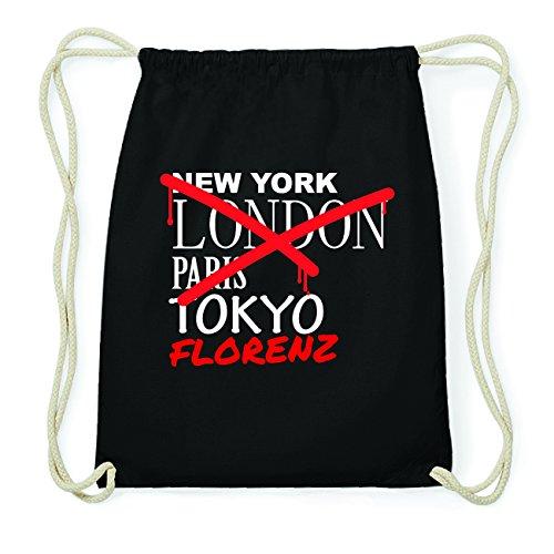 JOllify FLORENZ Hipster Turnbeutel Tasche Rucksack aus Baumwolle - Farbe: schwarz Design: Grafitti